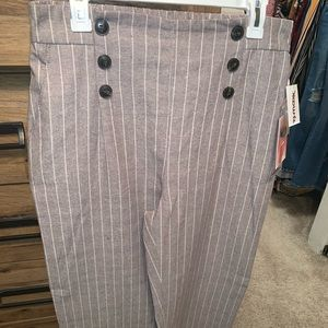Stripped flare Pants (Beige and White)